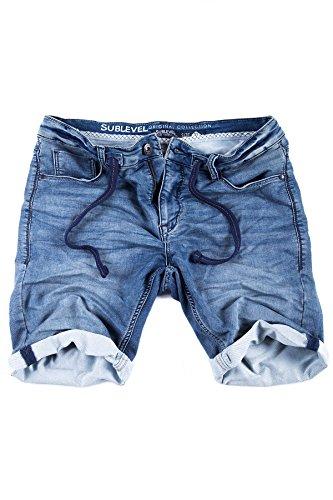 Sublevel Jogg Jeans Shorts Herren Kurze Hose Denim Sommer Jogger Bermuda Chino (Blau - SLKM48, W36)