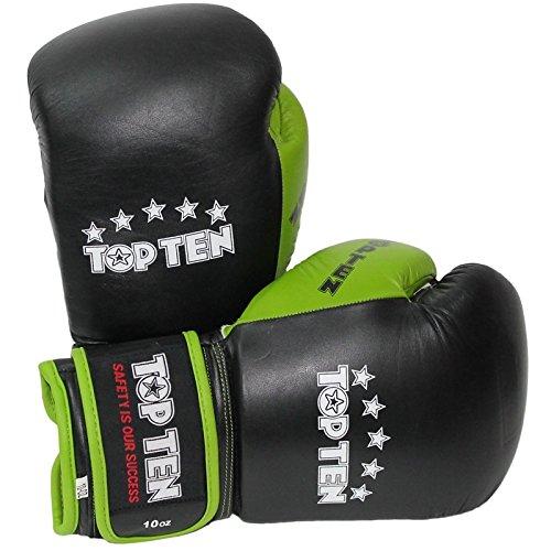 Top Ten Boxhandschuh, 283 g, Schwarz / Grün Top Ten Handschuhe