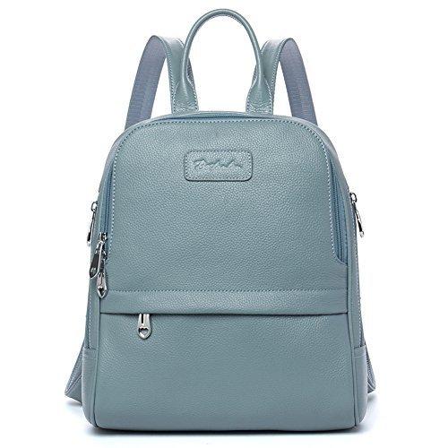 BOSTANTEN Damen Leder Rucksack Backpack Wanderrucksack Reiserucksack Schultasche modisch Hellblau