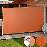Jago Seitenmarkise Sonnenschutz Sichtschutz Windschutz (Farbwahl/Größenwahl) Seitenrollo Markise Balkon Terrasse (terrakotta / 200x300 cm)