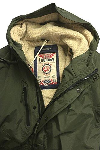 Herrenjacke Tokyo Laundry Parka Mantel Mit Kapuze Sherpa Innenfutter Schwer Fischschwanz Winter khaki - 1j9813