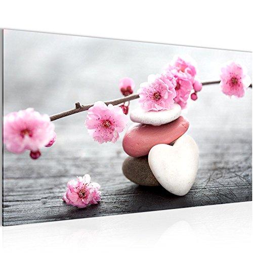 Blumen-wand (NEU! Bilder - Wandbild - 70 x 40 cm - XXL Format - Vlies Leinwand - !!! 100% MADE IN GERMANY !!! - Top - Wandbilder - Wand Bild - Kunstdrucke - Wandbild - Natur Feng Shui Spa Blumen Steine Herz Holz rose 500114a)