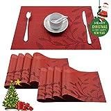 Top Finel umweltfreundlich Platzmatten-Set Tischsets Platzdeckchen Tischmatte dekorativ Unterlage 30 x 45 cm 8er Set Rot