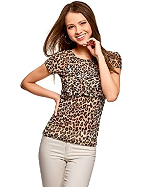 oodji Collection Donna T-Shirt Stampata con Volant