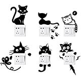 Foonii 6 PCS Interrupteurs Autocollant, Sticker Commutateur Résistant à L'eau Amovible, Noir PVC Switch Socket Décorations Stickers Muraux Art Mural Wall Sticker