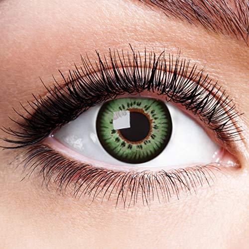 Farbige Kontaktlinsen Grün Motivlinsen Ohne Stärke mit Motiv Grüne Linsen Halloween Karneval Fasching Cosplay Kostüm Green Doll (Scary Baby Doll Kostüme)