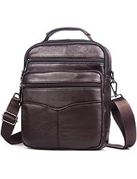 SPAHER Men Leather Handbag Shoulder Bag IPAD Business Messenger Backpack Crossbody Casual Tote Sling Travel Bag with Top-handle and Adjustable Removable Detachable Shoulder Strap Large Size