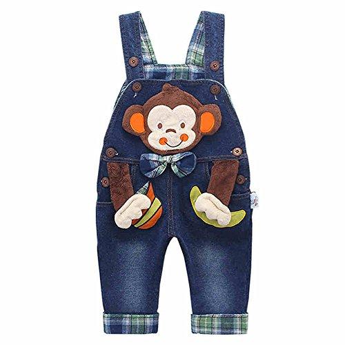 3D Baby Kinder Baumwolle Latzhose Kleinkind Hosenträger Jeans Overall Affe mit Banane