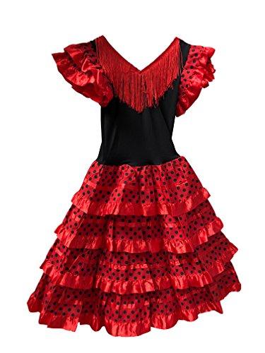 Vestido Flamenco Disfraz Sevillanas Rosa Rojo Topos (Rojo, 8-9 años)