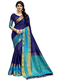 Tagline Women's Cotton Silk Saree (VTULIGH001BLUE_Blue)