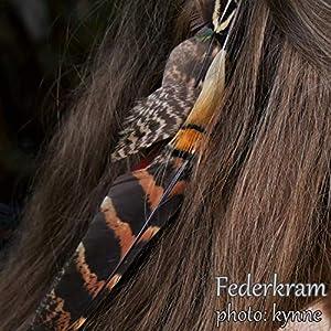 Zopf braun Fasan 8 Feder Haargummi, Zopfgummi Haarschmuck Haar Extension Vogel Federschmuck Federkram handgemacht