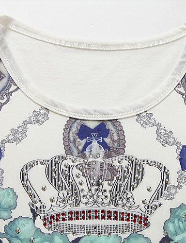 LYQ/ Robe Aux femmes Grandes Tailles Grandes Tailles / Vintage / Soirée / Décontracté , Imprimé Col Arrondi Mini Polyester / Spandex white-3xl
