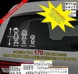 KIT 3 PERSONAGGI ADESIVI FAMIGLIA - KIT COMPLETO - adesivi famiglia a bordo - FAMILY STICKERS VETRO AUTO - PUNTO EVO CITROEN FORD FIAT PANDA 500 CINQUECENTO GRANDE PUNTO IDEA
