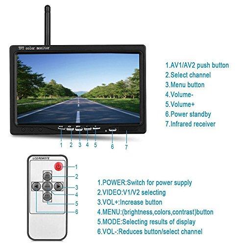 Camion Podofo Wireless Telecamera Retromarcia DC 12V-24V 7 Pollici Schermo Monitor Macchina Fotografica Posteriore Impermeabile 18 LED Visione Notturna IR per Autobus Roulotte