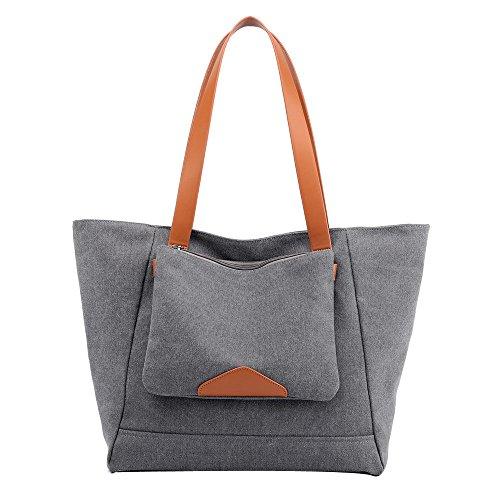 Tohole Zweiteiliges Set Damen Frauen Handtasche Leinwand Tasche Handtaschen Groß Schule Schultertasche Umhängetasche Tragetaschen(grau) -