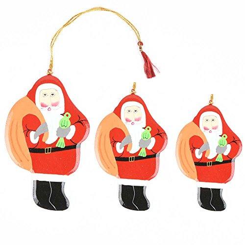 Regal Indische Handarbeit Orange Floral Papier Pappmaché Weihnachtsbaum Behang/Ornaments/Balls-3Stücke (gsh-102) Standard grün (Pappmaché Weihnachten Ornamente)