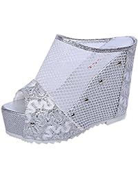 Sandalias mujer, Manadlian Sandalias de verano para mujer Chanclas Cuña hueca Zapatos de tacón alto (CN 36, Plata)