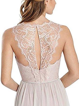 Vickyben Damen langes hoch Ausschnitt Spitzen A-linie Chiffon Abendkleid Hochzeit Kleid Ballkleid brautjungfer Kleid Party kleid Navy
