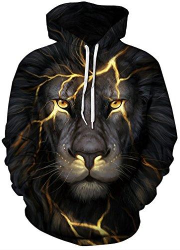 Leslady Unisex Hoodies Kapuzenpullover Damen 3D Druck Galaxy Langarm Sweatshirt Kapuzenjacke mit Taschen(Large/X-Large, 1-Lion Lightning)