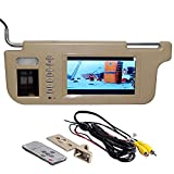 GGTFA Lato conducente Parasole Specchietto retrovisore Monitor parasole 2 Ingresso Video per la macchina fotografica dell'Automobile di GPS DVD TV Beige