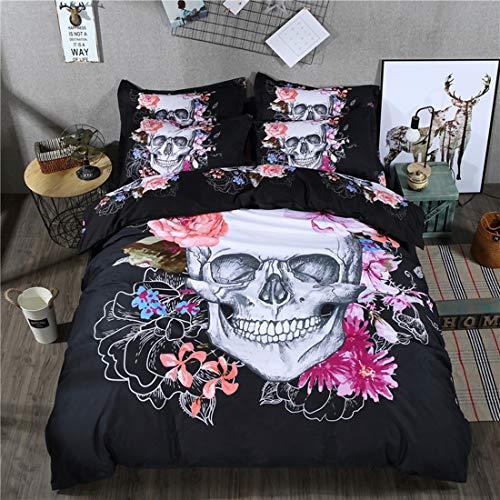 Lila Einzelbett (Bettwäsche Set 3D Print Floral Skull Bettwäsche-Sets Skull Bettbezug mit Kissenbezug oder Bettwäsche Blatt mit Reißverschluss Schließung Ganzjahres Bettwäsche-Set (Stil 2 #, Einzelbett Size 135x200cm))