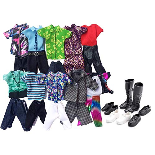 Migavan 10 setzt Casual Puppe Kleidung Jacke Hosen Outfits mit 4 Paar Schuhe Kompatibel mit Barbie Manner Junge Ken Dolls Kinder Geschenke Zuf?llige Stil