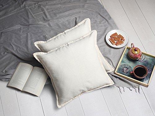 Cojin de cojin de almohada blanco clasico 45 x 45 Juego de 2 cofres para sofa Decoracion de cama de algodon 100%