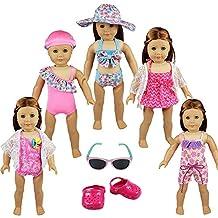 Miunana 7 Piezas=5 Traje de Baño Bañador Bikini Biquini + 1 Gafas de Sol