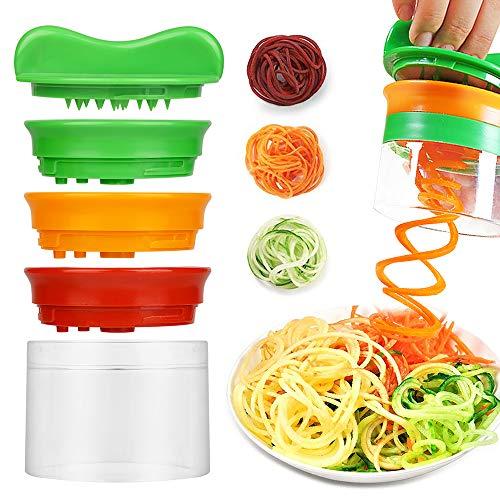 Nasharia Gemüsenudeln Spiralschneider mit 3-Klingen, Spiralschneider Hand für Gemüsespaghetti, Zucchini Nudeln Schneider, Gemüse Spiralschneider für Karotte, Gurke, Kartoffel, Zucchini, Zwiebel