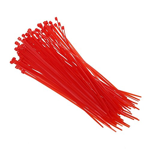 Draht Krawatten - TOOGOO(R)100 Stueck 3mm x 200 mm Rot Patch Klemme Stopp Kabel Kabelbinder - Patch-krawatte