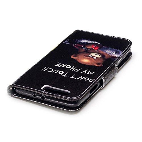 Coque Huawei P10 Plus - EUGO Flip Housse Étui coque de protection en Luxe cuir pour + 1 × Noir Stylet d'Ecran Tactile - Braun Ours