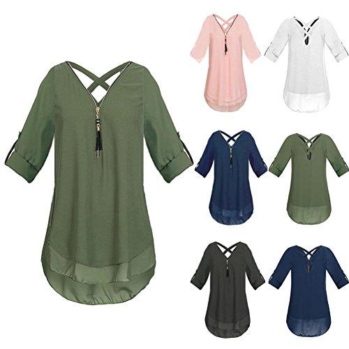 ESAILQ Damen Tunika Sommer Tops Damen Kurzarm Basic Uni Leichtes Freizeit Rundhals mit Knopf Plissee T-Shirt Oberteile(S,Schwarz) - 3