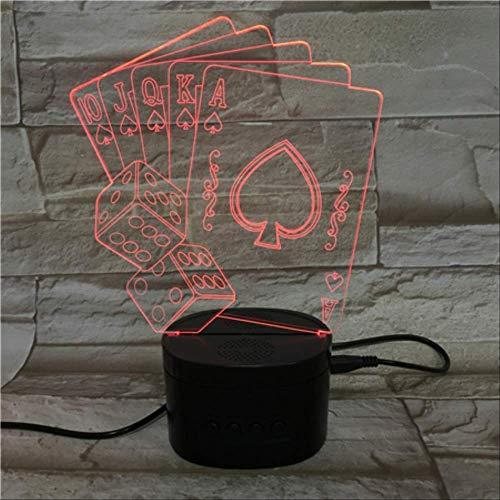 Bluetooth Lautsprecher Basis 3d Illusion Light, 5 Farbe Farbverlauf Nachttisch Lampe, Tischlampe (scorpion Poker) Schwarze Bluetooth-Basis