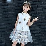 M & M Les vêtements d'été des filles sans manches en mousseline de soie robe de fleurs des enfants de la robe de princesse des enfants,blanc,150cm