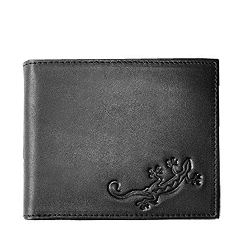 Oxmox Kollektion Leather Querformatbörse Lizard Schwarz (Lizard Geldbörse)
