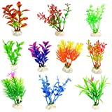 ANTOLE 10 Pack Artificial Aquatic Plants Small Aquarium Plants Artificial Fish Tank Decorations,Used for Household and Office