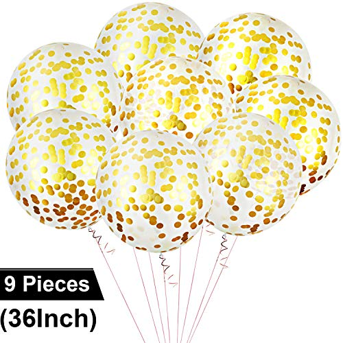 8 Stücke Konfetti Luftballons Latex Jumbo Größe Luftballons Riesige Runde Luftballons für Hochzeit Fest Baby Dusche (Gold)