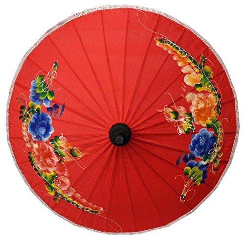wifash Sonnenschirm Asiaschirm Chinaschirm Dekoschirm Accessoire Ø 50 cm Rot