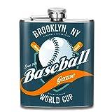 Pallone da Gioco per Baseball e Pipistrelli su Shield_558896782 Regalo per Uomo 7 Oz a Tenuta stagna Tasca per Anca in Acciaio Inossidabile 304 con fiaschetta di Alcol Whisky Rum e Vodka