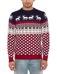 Noroze - Maglione natalizio da uomo, lavorato a maglia, con berretto