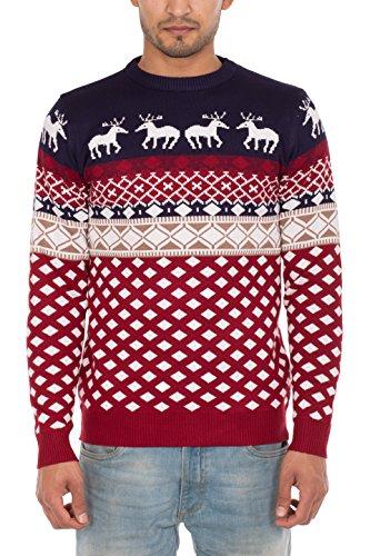 noroze maglione da uomo, motivo natalizio, lavorato a maglia, con cappellino in omaggio marina militare m