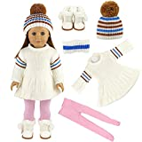 Miunana Winter Clothes For 16 - 18 Inch American Girl Dolls And Other 16 - 18 Inch Dolls : White Sweater Dress + Hat + White Snow Boots + Pink Pants (VAT Included)