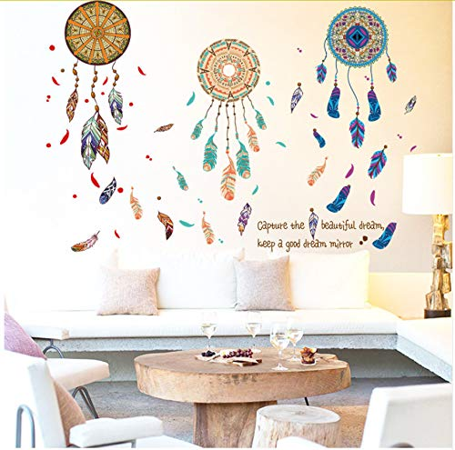 Pegatinas de pared Colorido Atrapasueños Pluma Vinilo Pegatinas de Pared Salón Dormitorio Sofá Fondo Decoración Extraíble Tatuajes de Pared Arte Mural