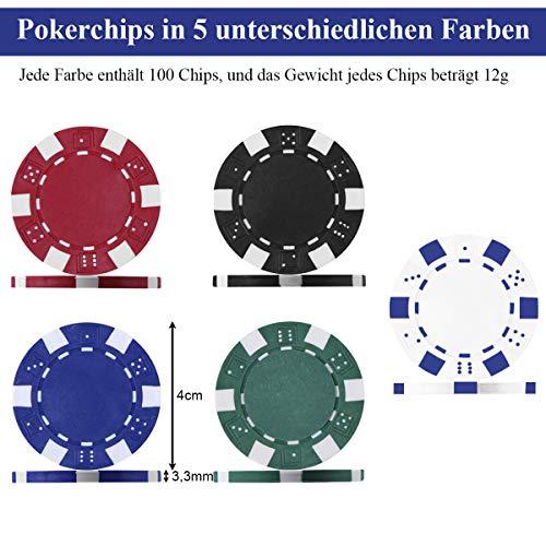 COSTWAY Pokerset mit 500 Laser-Chips | ...