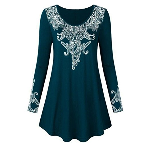 HWTOP Damen Mode Oberteil, Langarmshirt Hemd, T-Shirt Spitze Drucken, Sweatshirt Tops Frauen, Langärmelige Shirt, Lose Unregelmäßige Saum Elegant Bluse Plus Größe (Dunkelblau, 4XL)