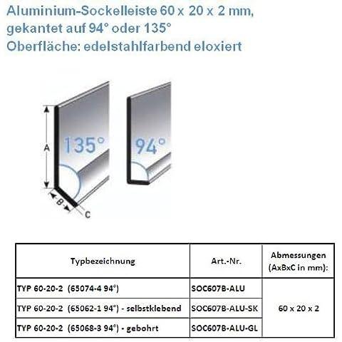 50 metros Rodapié / zócalo TYP 60-20-2 (Aluminio anodizado / color: acero inoxidable / 65074-4 94°)