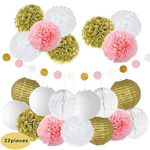 hite Party Dekorationen - Hochzeitsdekoration Papier Blumen Set mit Seidenpapier Kugeln Garland Wand Dekorationen für Baby Shower Party ()