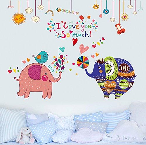 HCCY Cartoon encantadoras parejas papel de pared elefantes acogedoras habitaciones Habitación decorada...