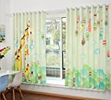GFYWZ Kinder Leinenvorhänge Velvet 3D Cartoon Giraffe Digitaldruck Stoffe Blackout Lärm reduzierte Falte Fenster Vorhänge zu den Deckenfenstern Schiebegardine Wohnzimmer Schlafzimmer Stock (2 Platten) , 1 , E