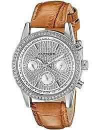Akribos XXIV Reloj de cuarzo para mujer con plata esfera analógica pantalla y correa de piel color marrón ak871ssbr